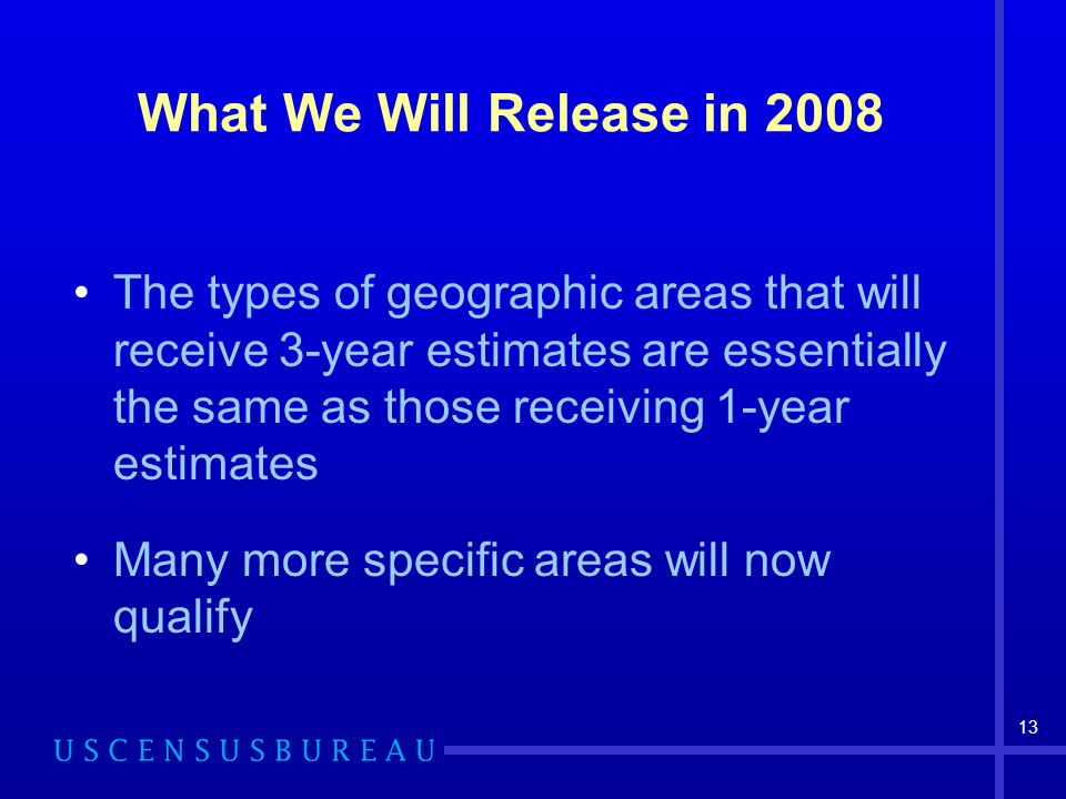 13 What We Will Release in 2008 The types of geographic areas that will receive 3-year estimates are essentially the same as those receiving 1-year estimates Many more specific areas will now qualify