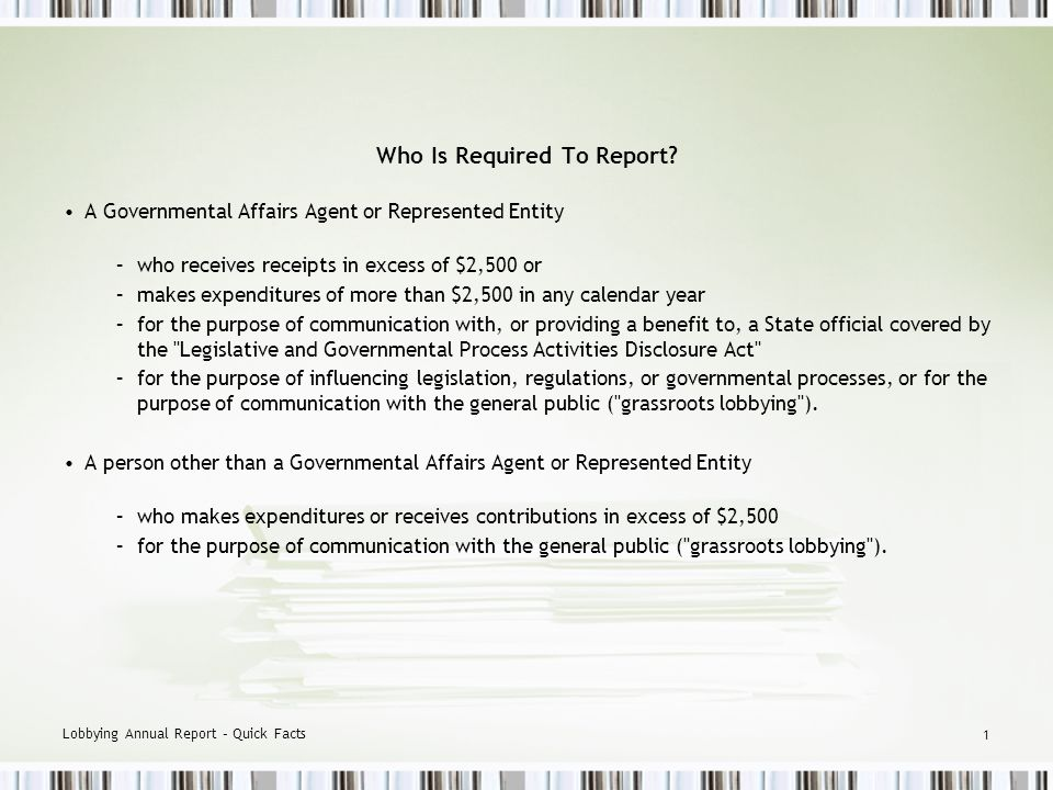 Annual Report – Quick Facts This Power Point Presentation is not intended to Supersede the Act and Regulations, and in the event of any inconsistencies, the Act and Regulations will prevail.