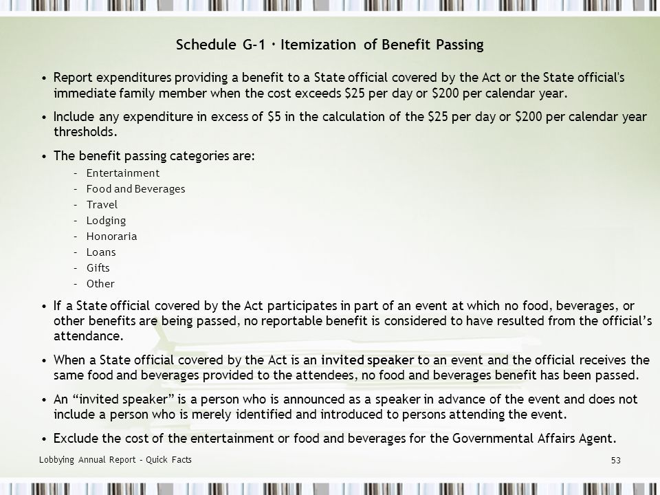Lobbying Annual Report – Quick Facts 52 Schedule G-1 · Itemization of Benefit Passing Reporting the Benefit: Provide the recipient of the benefit.