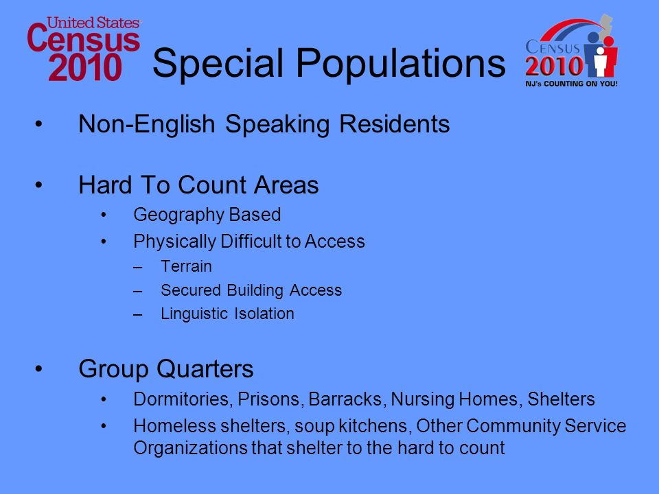 Special Populations Non-English Speaking Residents Hard To Count Areas Geography Based Physically Difficult to Access –Terrain –Secured Building Access –Linguistic Isolation Group Quarters Dormitories, Prisons, Barracks, Nursing Homes, Shelters Homeless shelters, soup kitchens, Other Community Service Organizations that shelter to the hard to count