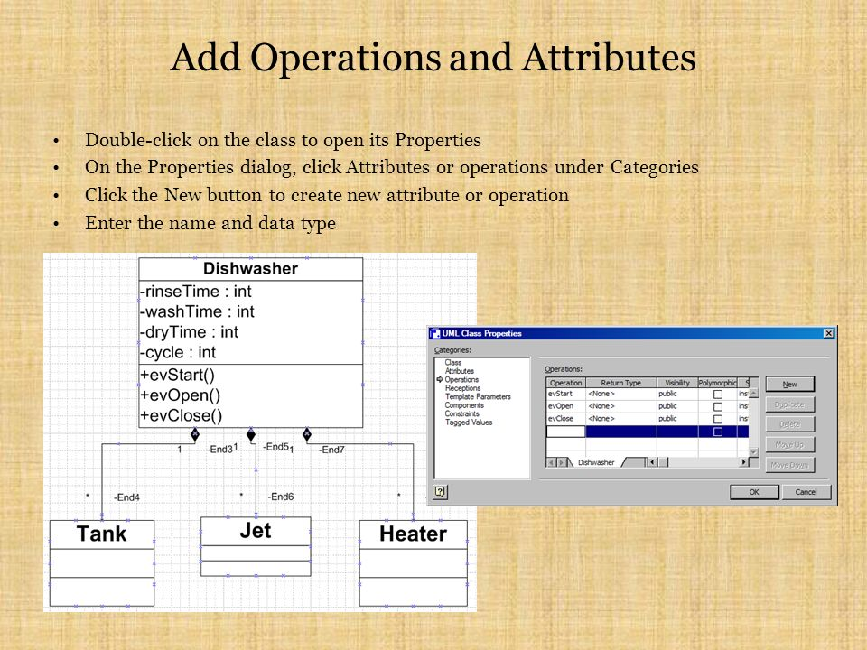Add Operations and Attributes Double-click on the class to open its Properties On the Properties dialog, click Attributes or operations under Categories Click the New button to create new attribute or operation Enter the name and data type