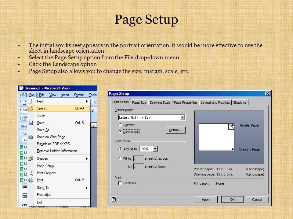 Page Setup The initial worksheet appears in the portrait orientation, it would be more effective to use the sheet in landscape orientation Select the Page Setup option from the File drop-down menu Click the Landscape option Page Setup also allows you to change the size, margin, scale, etc.