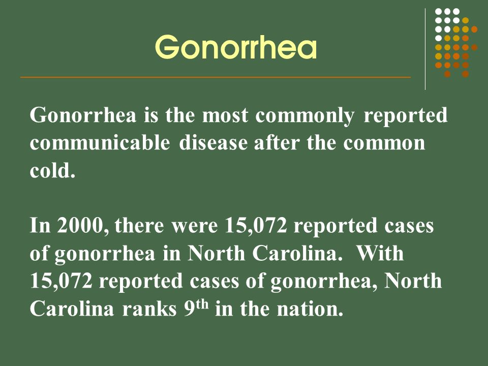 Gonorrhea is the most commonly reported communicable disease after the common cold.