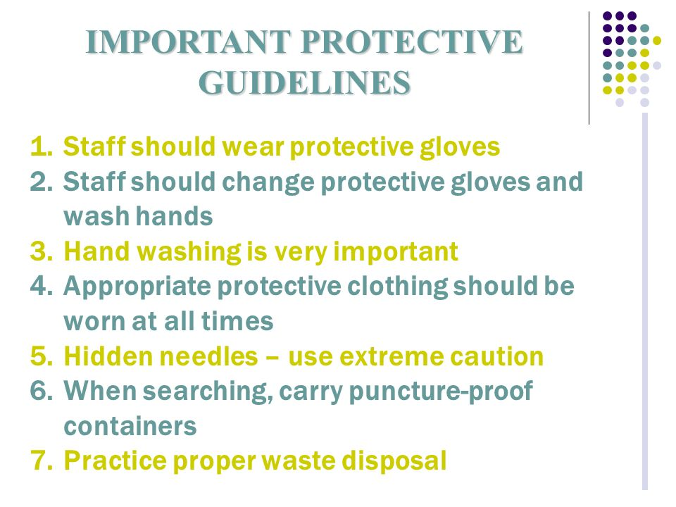 IMPORTANT PROTECTIVE GUIDELINES 1.Staff should wear protective gloves 2.Staff should change protective gloves and wash hands 3.Hand washing is very important 4.Appropriate protective clothing should be worn at all times 5.Hidden needles – use extreme caution 6.When searching, carry puncture-proof containers 7.Practice proper waste disposal
