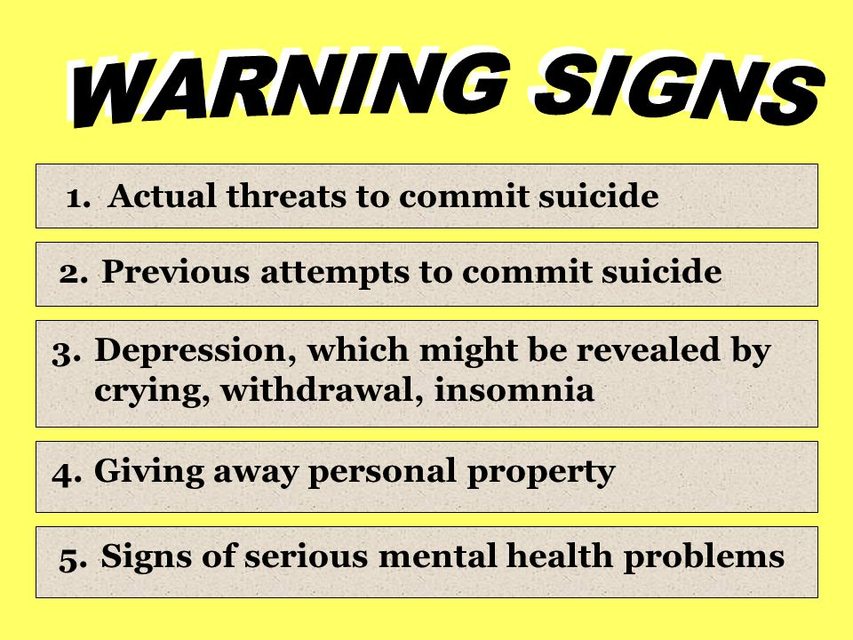 1.Actual threats to commit suicide 2.Previous attempts to commit suicide 3.Depression, which might be revealed by crying, withdrawal, insomnia 4.Giving away personal property 5.Signs of serious mental health problems