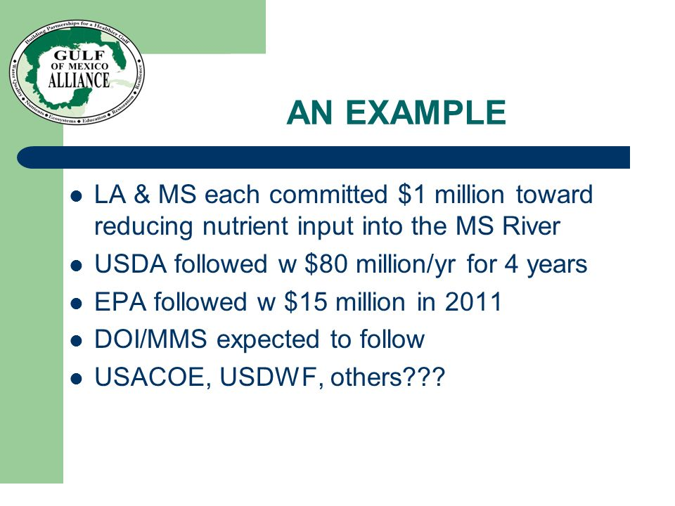AN EXAMPLE LA & MS each committed $1 million toward reducing nutrient input into the MS River USDA followed w $80 million/yr for 4 years EPA followed w $15 million in 2011 DOI/MMS expected to follow USACOE, USDWF, others