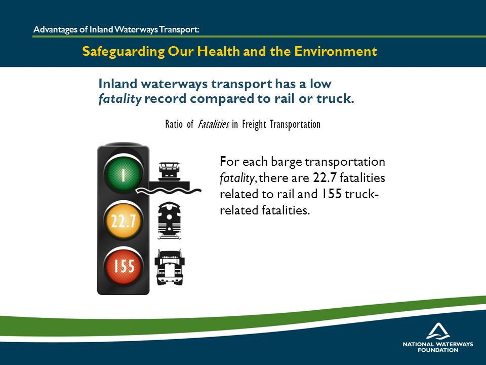 Inland waterways transport has a low fatality record compared to rail or truck.