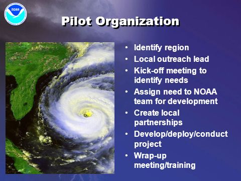 Pilot Organization Identify region Local outreach lead Kick-off meeting to identify needs Assign need to NOAA team for development Create local partnerships Develop/deploy/conduct project Wrap-up meeting/training Identify region Local outreach lead Kick-off meeting to identify needs Assign need to NOAA team for development Create local partnerships Develop/deploy/conduct project Wrap-up meeting/training