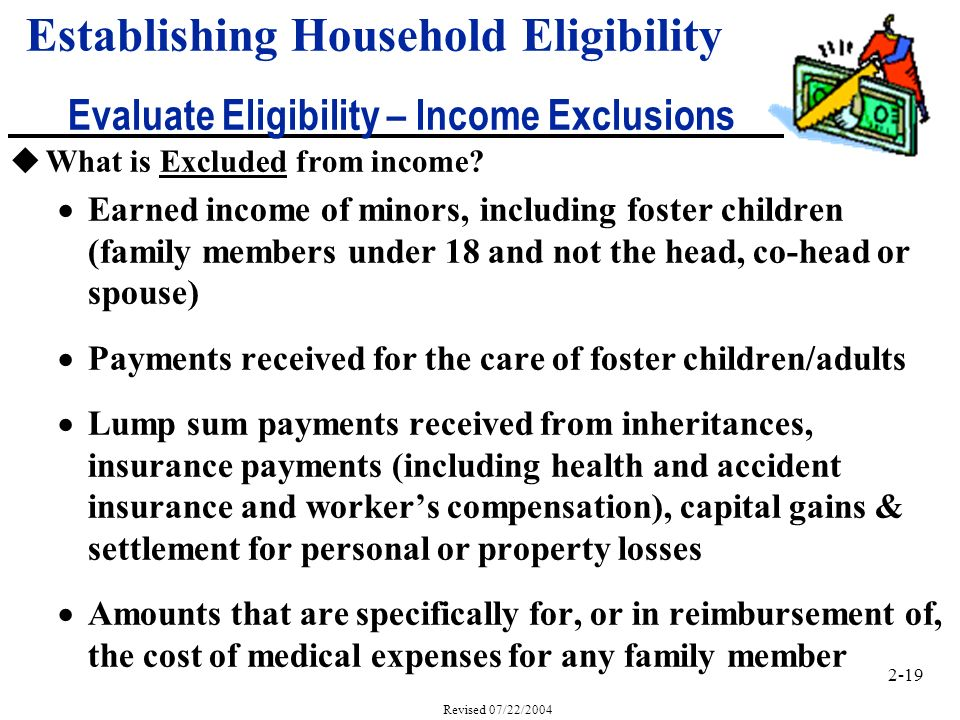 2-19 Revised 07/22/2004 uWhat is Excluded from income.