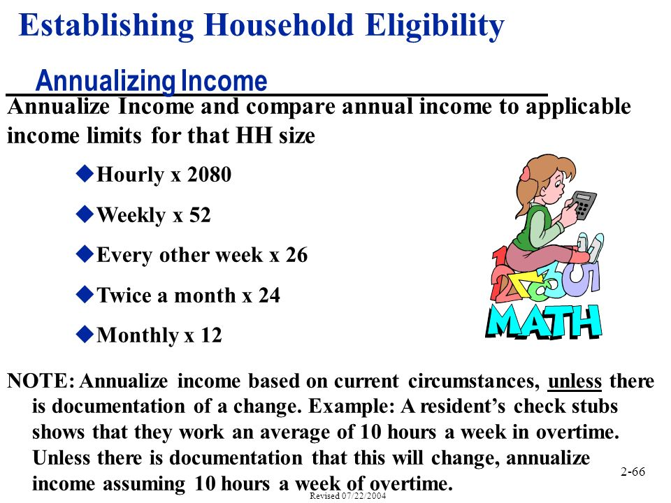 2-66 Revised 07/22/2004 Annualize Income and compare annual income to applicable income limits for that HH size uHourly x 2080 uWeekly x 52 uEvery other week x 26 uTwice a month x 24 uMonthly x 12 Establishing Household Eligibility Annualizing Income NOTE: Annualize income based on current circumstances, unless there is documentation of a change.
