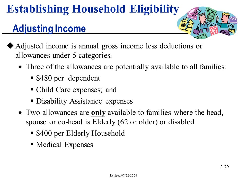 2-79 Revised 07/22/2004 uAdjusted income is annual gross income less deductions or allowances under 5 categories.