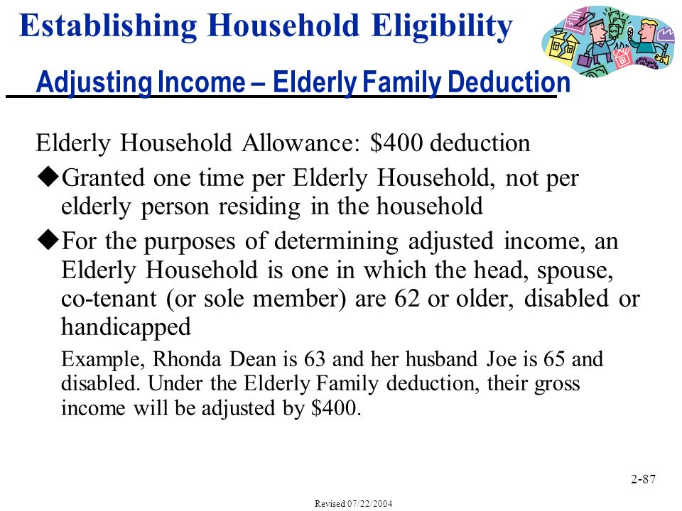 2-87 Revised 07/22/2004 Elderly Household Allowance: $400 deduction uGranted one time per Elderly Household, not per elderly person residing in the household uFor the purposes of determining adjusted income, an Elderly Household is one in which the head, spouse, co-tenant (or sole member) are 62 or older, disabled or handicapped Example, Rhonda Dean is 63 and her husband Joe is 65 and disabled.