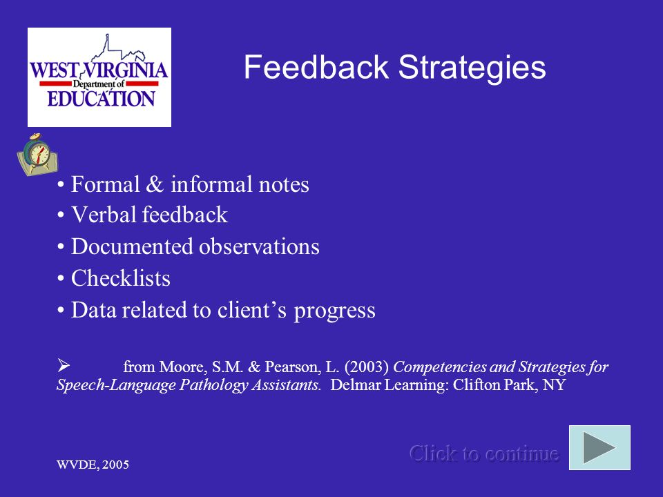 WVDE, 2005 Feedback Strategies Formal & informal notes Verbal feedback Documented observations Checklists Data related to clients progress from Moore, S.M.
