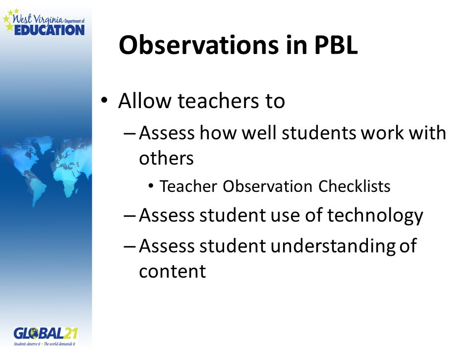 Observations in PBL Allow teachers to – Assess how well students work with others Teacher Observation Checklists – Assess student use of technology – Assess student understanding of content