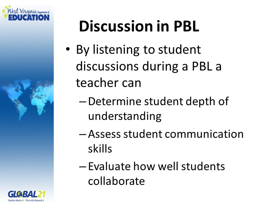Discussion in PBL By listening to student discussions during a PBL a teacher can – Determine student depth of understanding – Assess student communication skills – Evaluate how well students collaborate