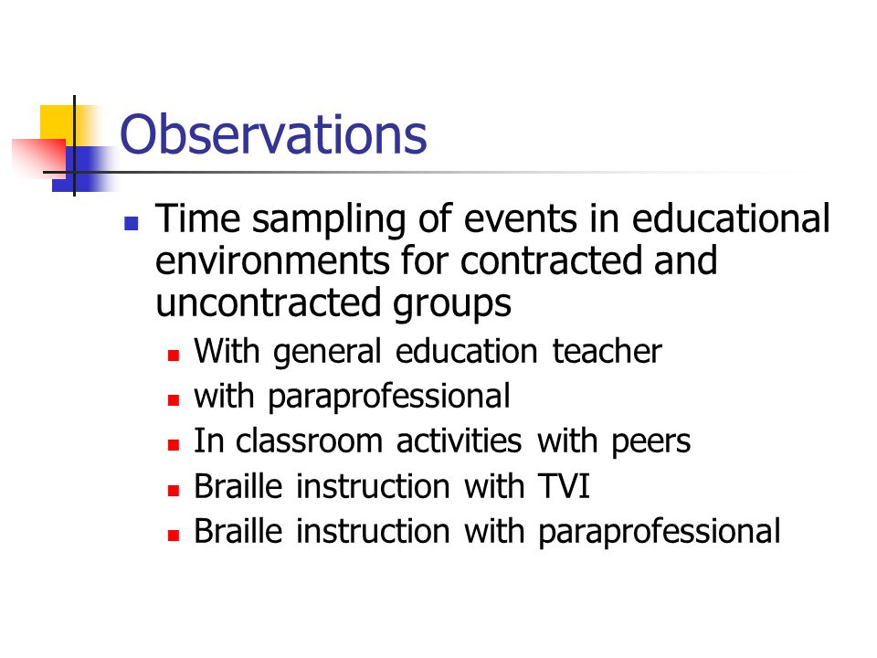 Observations Time sampling of events in educational environments for contracted and uncontracted groups With general education teacher with paraprofessional In classroom activities with peers Braille instruction with TVI Braille instruction with paraprofessional