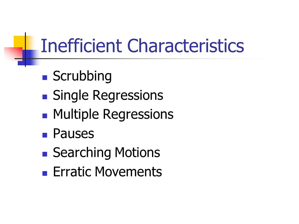 Inefficient Characteristics Scrubbing Single Regressions Multiple Regressions Pauses Searching Motions Erratic Movements