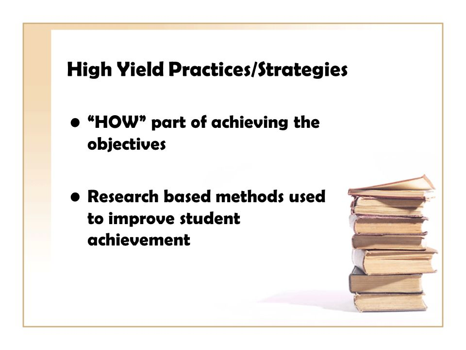 High Yield Practices/Strategies HOW part of achieving the objectives Research based methods used to improve student achievement