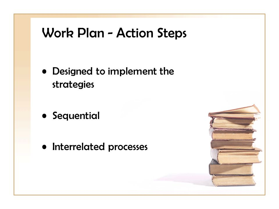 Work Plan - Action Steps Designed to implement the strategies Sequential Interrelated processes