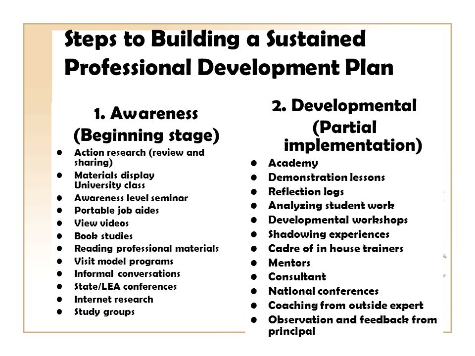 Steps to Building a Sustained Professional Development Plan 1.