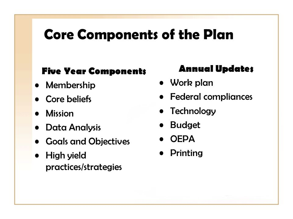 Core Components of the Plan Five Year Components Membership Core beliefs Mission Data Analysis Goals and Objectives High yield practices/strategies Annual Updates Work plan Federal compliances Technology Budget OEPA Printing