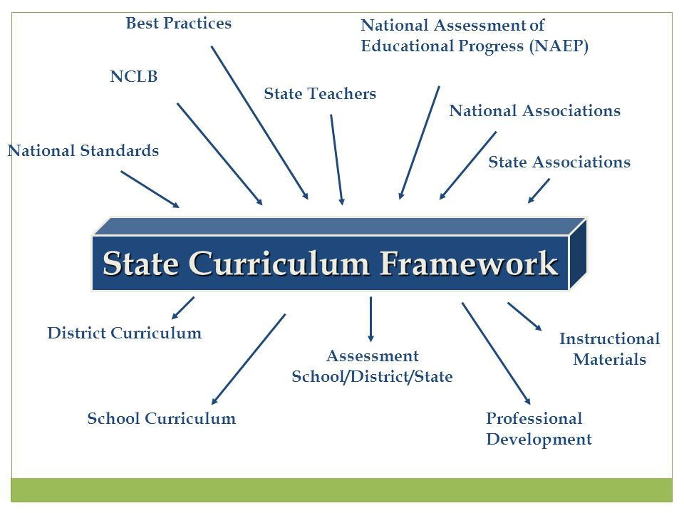 State Curriculum Framework National Standards NCLB State Teachers National Assessment of Educational Progress (NAEP) National Associations State Associations District Curriculum School Curriculum Assessment School/District/State Instructional Materials Professional Development Best Practices