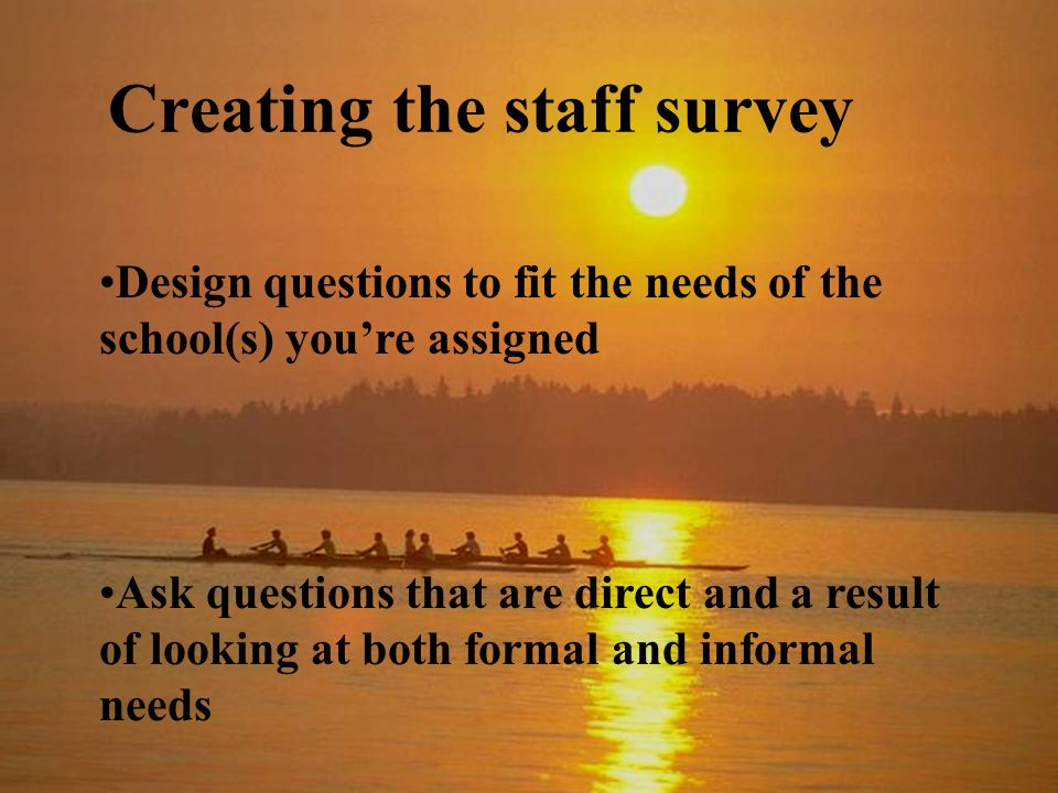 Creating the staff survey Design questions to fit the needs of the school(s) youre assigned Ask questions that are direct and a result of looking at both formal and informal needs