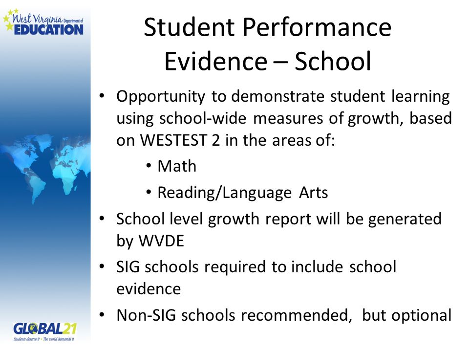 Student Performance Evidence – School Opportunity to demonstrate student learning using school-wide measures of growth, based on WESTEST 2 in the areas of: Math Reading/Language Arts School level growth report will be generated by WVDE SIG schools required to include school evidence Non-SIG schools recommended, but optional