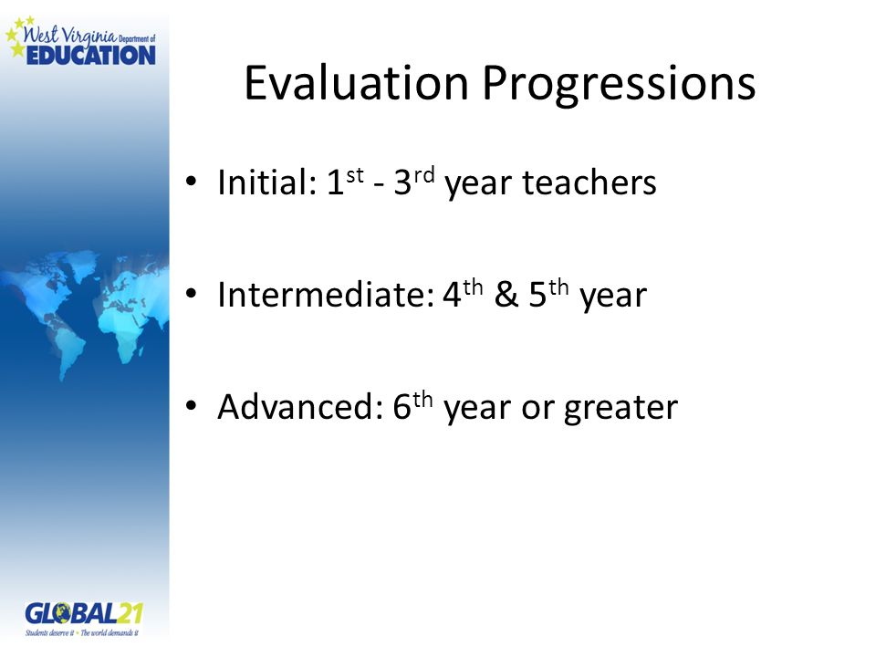 Evaluation Progressions Initial: 1 st - 3 rd year teachers Intermediate: 4 th & 5 th year Advanced: 6 th year or greater