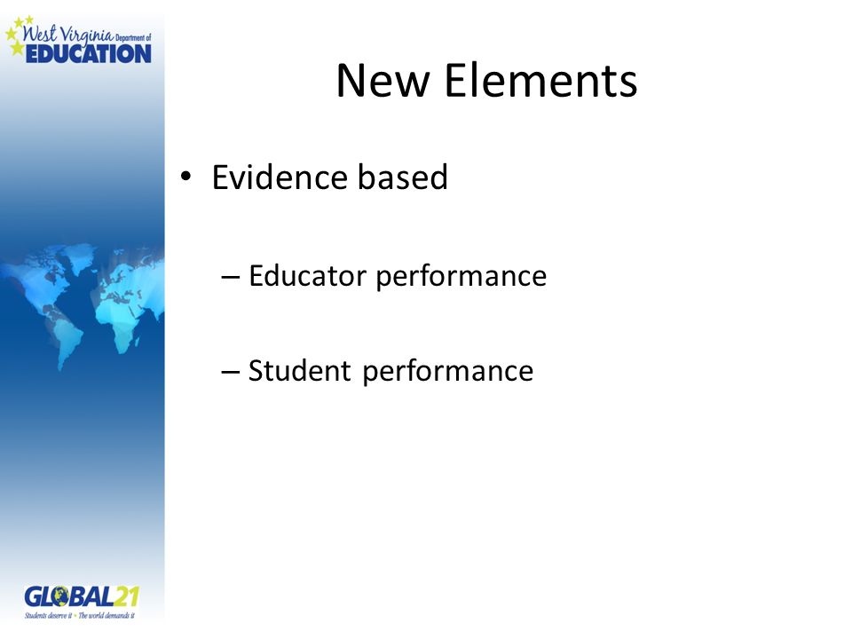 New Elements Evidence based – Educator performance – Student performance