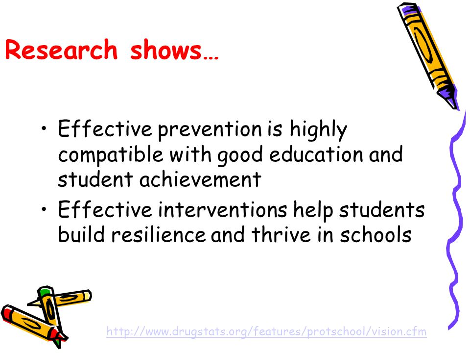 Research shows… Effective prevention is highly compatible with good education and student achievement Effective interventions help students build resilience and thrive in schools http://www.drugstats.org/features/protschool/vision.cfm