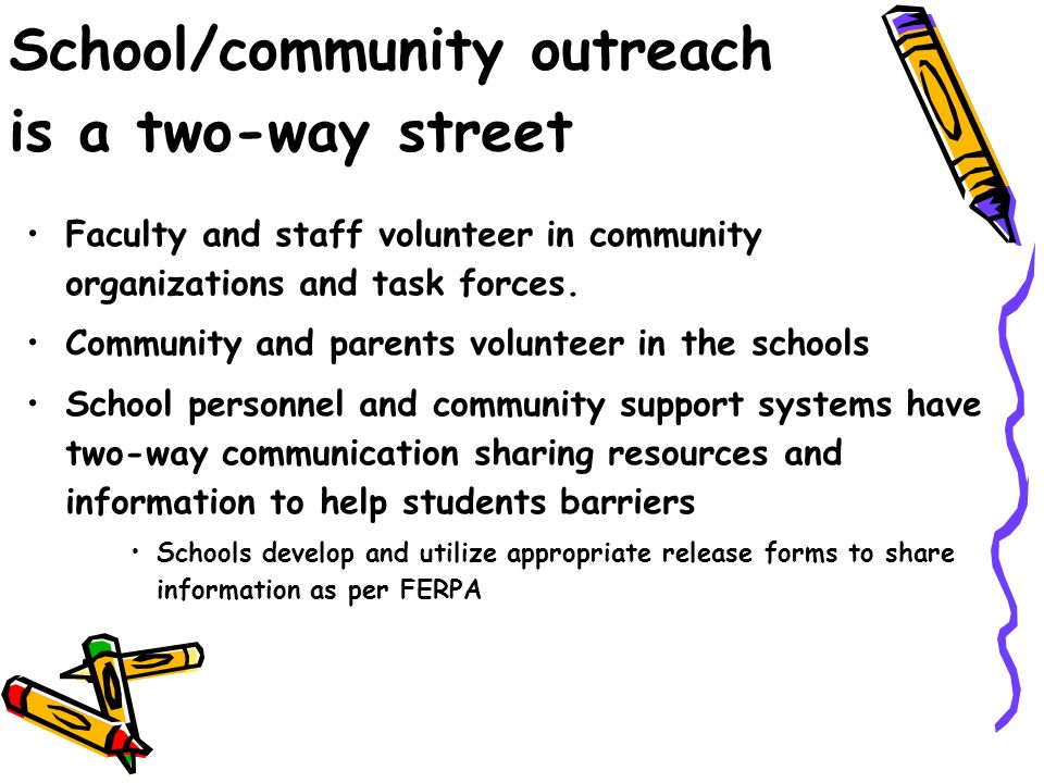 School/community outreach is a two-way street Faculty and staff volunteer in community organizations and task forces.