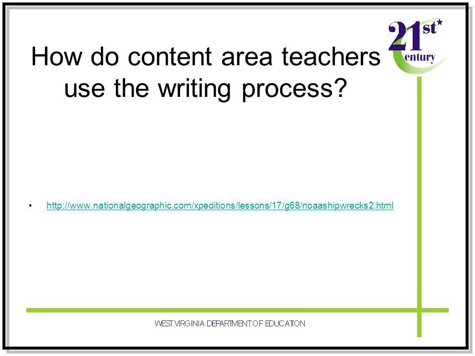How do content area teachers use the writing process.