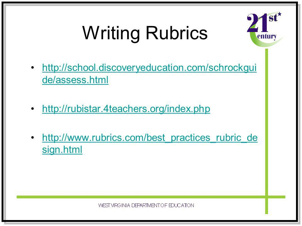 http://school.discoveryeducation.com/schrockgui de/assess.htmlhttp://school.discoveryeducation.com/schrockgui de/assess.html http://rubistar.4teachers.org/index.php http://www.rubrics.com/best_practices_rubric_de sign.htmlhttp://www.rubrics.com/best_practices_rubric_de sign.html Writing Rubrics