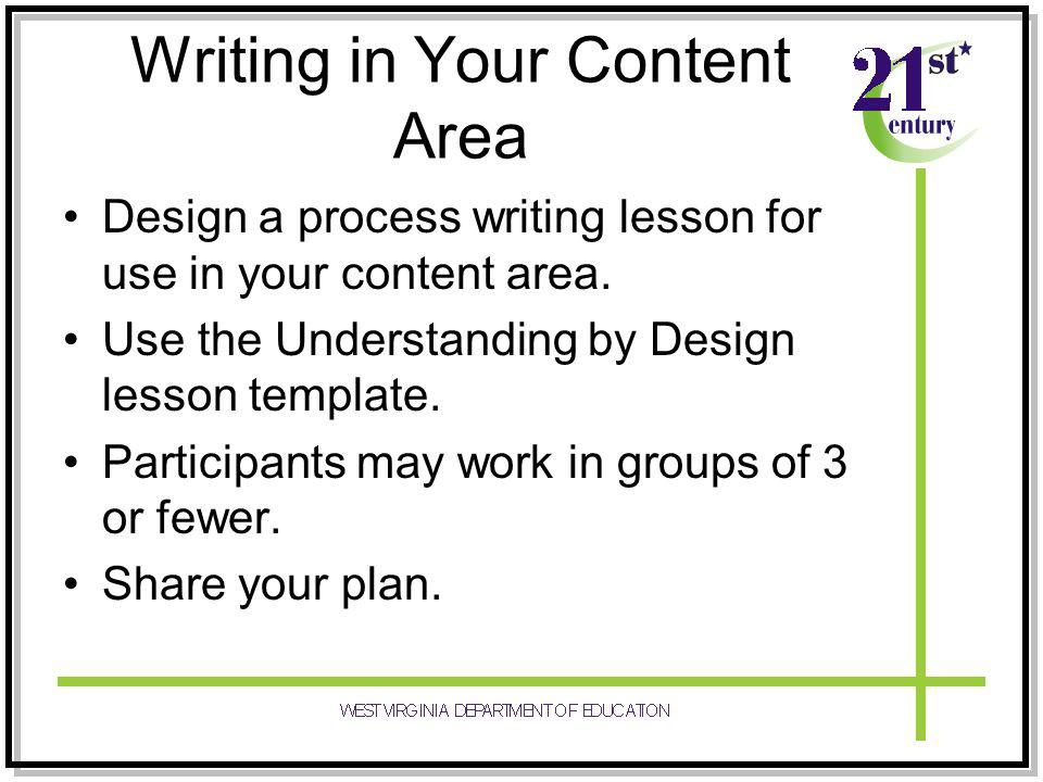 Writing in Your Content Area Design a process writing lesson for use in your content area.