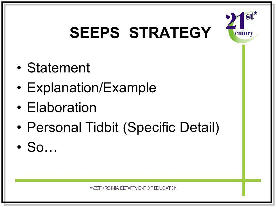 SEEPS STRATEGY Statement Explanation/Example Elaboration Personal Tidbit (Specific Detail) So…