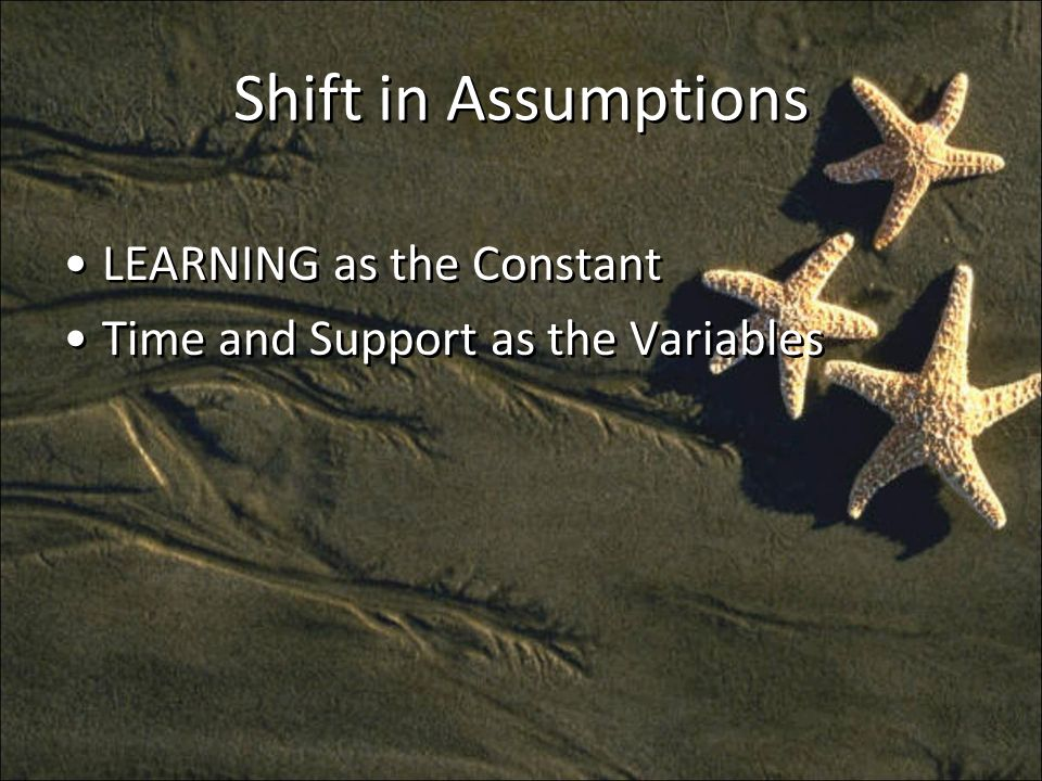 Shift in Assumptions LEARNING as the Constant Time and Support as the Variables LEARNING as the Constant Time and Support as the Variables
