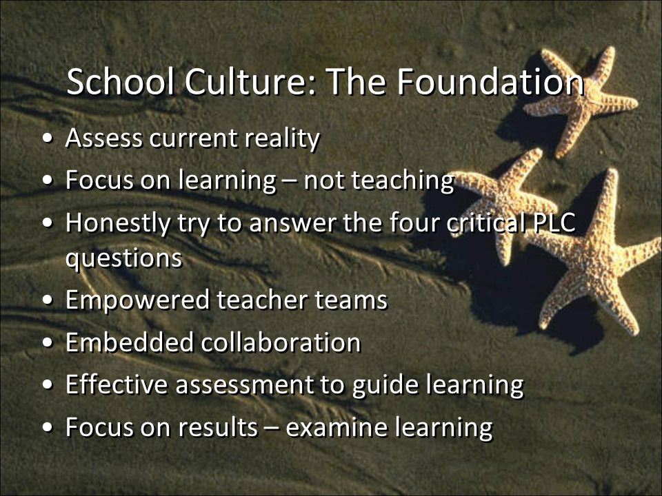 School Culture: The Foundation Assess current reality Focus on learning – not teaching Honestly try to answer the four critical PLC questions Empowered teacher teams Embedded collaboration Effective assessment to guide learning Focus on results – examine learning Assess current reality Focus on learning – not teaching Honestly try to answer the four critical PLC questions Empowered teacher teams Embedded collaboration Effective assessment to guide learning Focus on results – examine learning