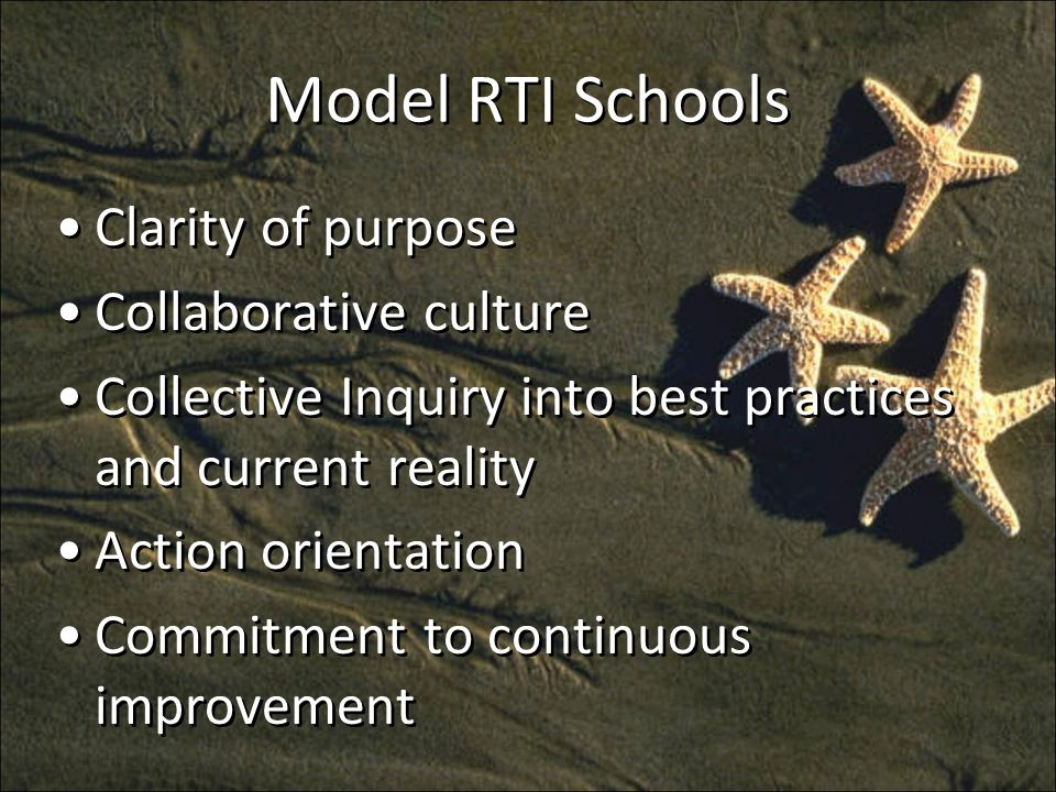 Model RTI Schools Clarity of purpose Collaborative culture Collective Inquiry into best practices and current reality Action orientation Commitment to continuous improvement Clarity of purpose Collaborative culture Collective Inquiry into best practices and current reality Action orientation Commitment to continuous improvement