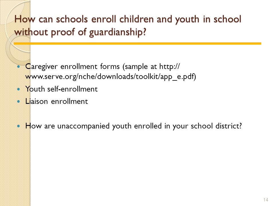 How can schools enroll children and youth in school without proof of guardianship.