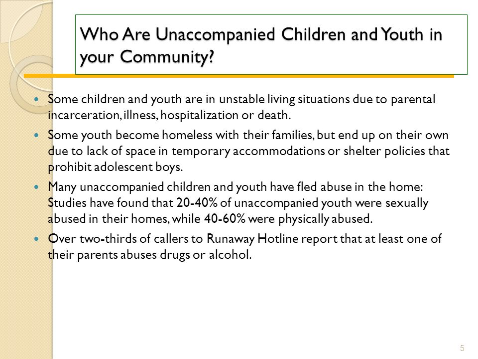Who Are Unaccompanied Children and Youth in your Community.
