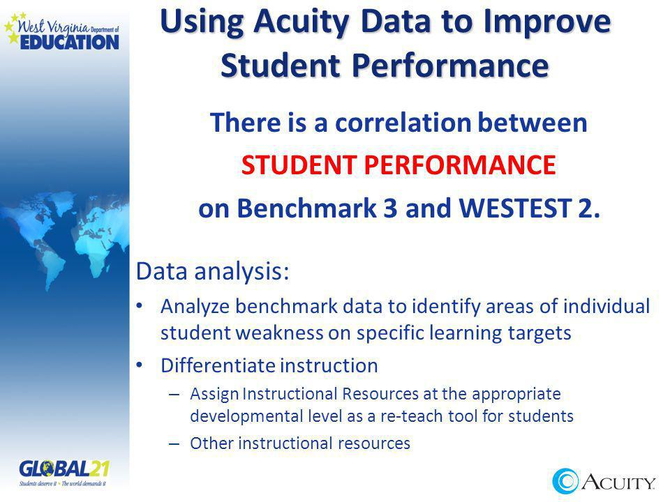 Using Acuity Data to Improve Student Performance There is a correlation between STUDENT PERFORMANCE on Benchmark 3 and WESTEST 2.