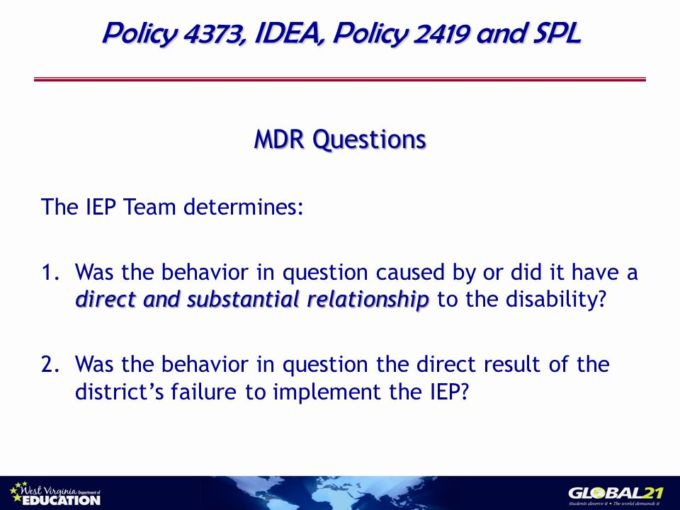 Policy 4373, IDEA, Policy 2419 and SPL MDR Questions The IEP Team determines: direct and substantial relationship 1.Was the behavior in question caused by or did it have a direct and substantial relationship to the disability.