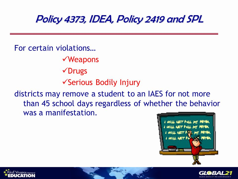 Policy 4373, IDEA, Policy 2419 and SPL For certain violations… Weapons Drugs Serious Bodily Injury districts may remove a student to an IAES for not more than 45 school days regardless of whether the behavior was a manifestation.