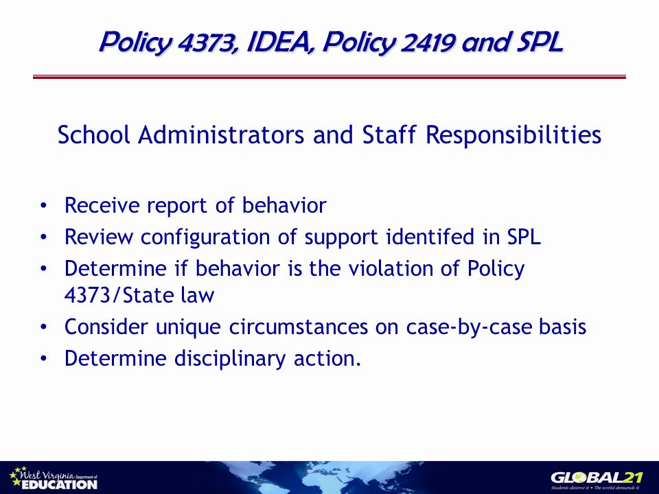 Policy 4373, IDEA, Policy 2419 and SPL School Administrators and Staff Responsibilities Receive report of behavior Review configuration of support identifed in SPL Determine if behavior is the violation of Policy 4373/State law Consider unique circumstances on case-by-case basis Determine disciplinary action.