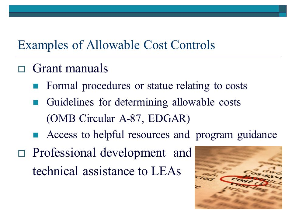 11 Examples of Allowable Cost Controls Grant manuals Formal procedures or statue relating to costs Guidelines for determining allowable costs (OMB Circular A-87, EDGAR) Access to helpful resources and program guidance Professional development and technical assistance to LEAs