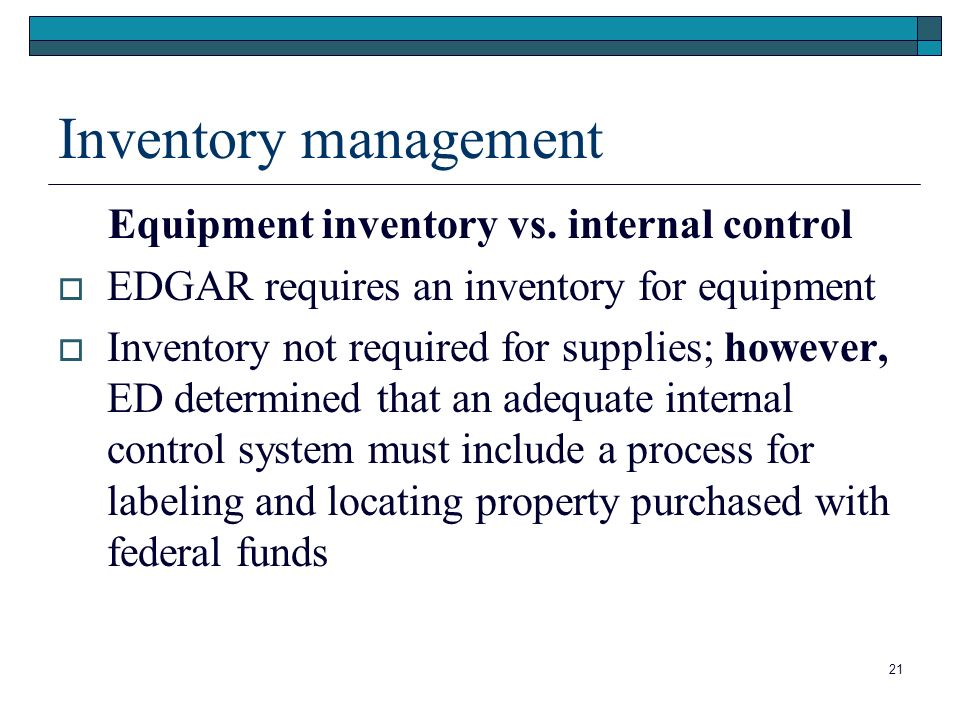 Inventory management Equipment inventory vs.