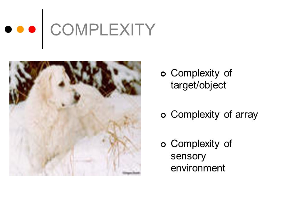 COMPLEXITY Complexity of target/object Complexity of array Complexity of sensory environment