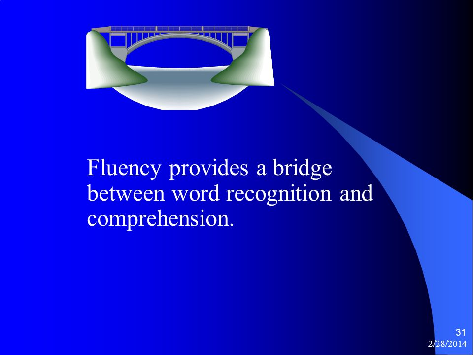 2/28/2014 31 Fluency provides a bridge between word recognition and comprehension.