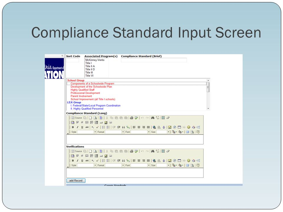 Compliance Standard Input Screen